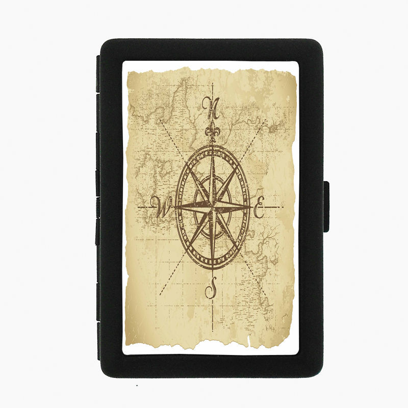 Vintage Compass D3 Black Cigarette Case / Metal Wallet Nautical Navigation