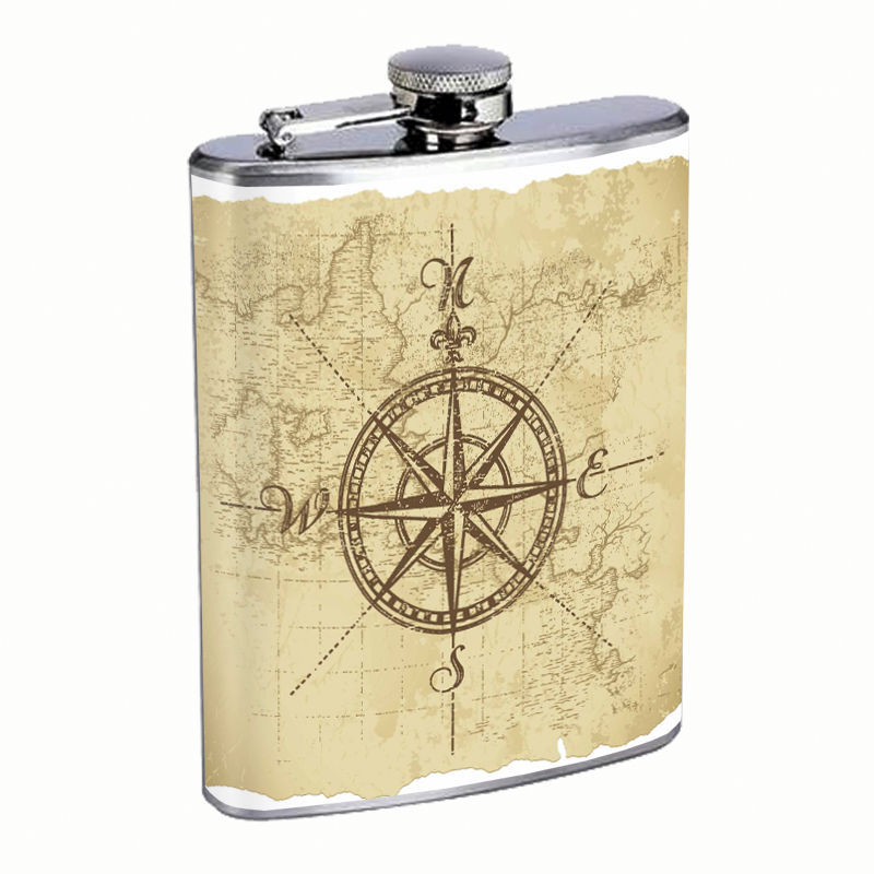 Vintage Compass Flask D3 8oz Stainless Steel Nautical Navagation Directions