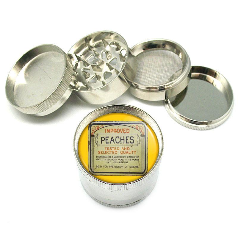 "Vintage Condom Tin Peaches Metal Grinder 4 PC 2"" D-036"