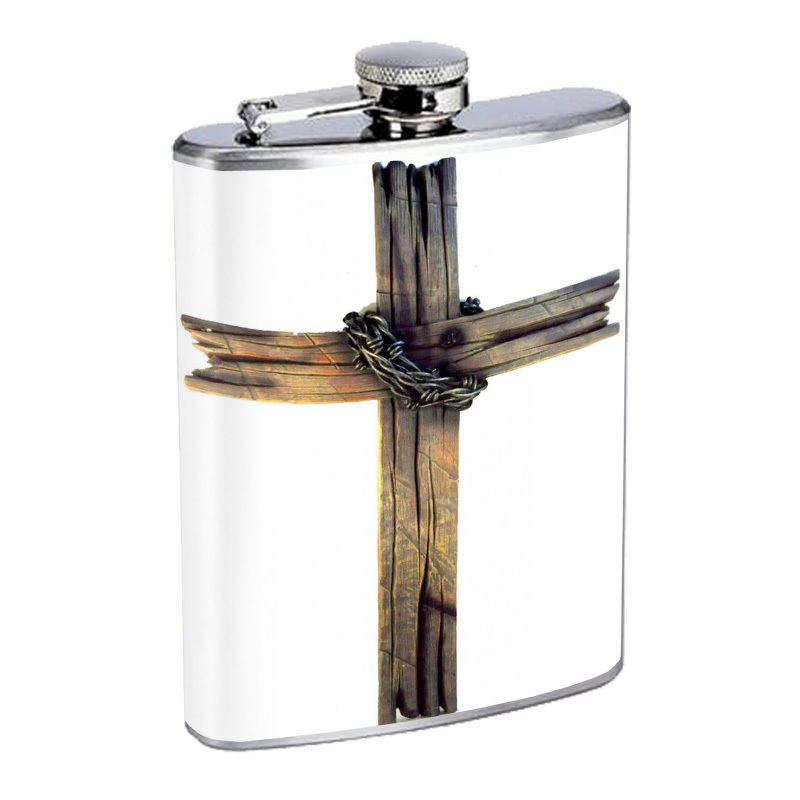 Vintage Cross Hip Flask D7 8oz Stainless Steel Old Fashioned Retro