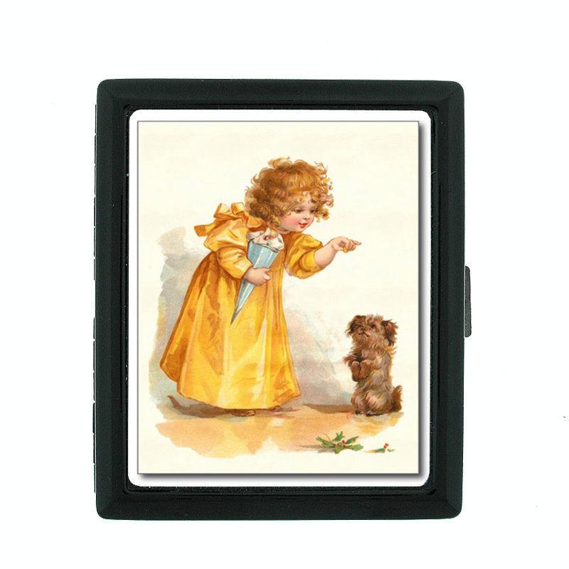 Vintage Dog D23 Regular Black Cigarette Case / Metal Wallet Old Fashioned Image