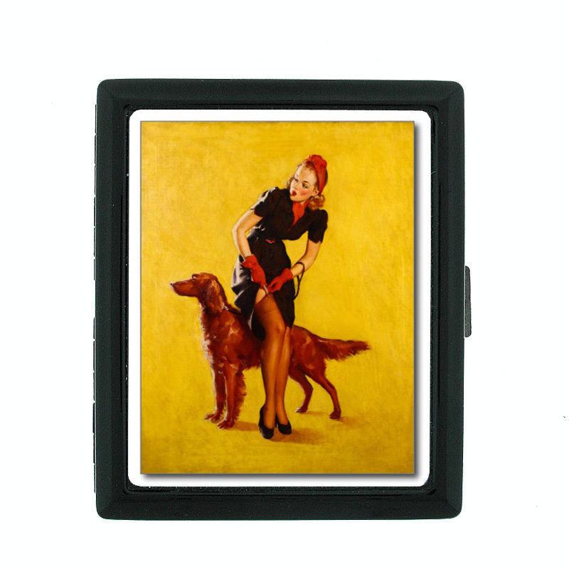 Vintage Dog D24 Regular Black Cigarette Case / Metal Wallet Old Fashioned Image