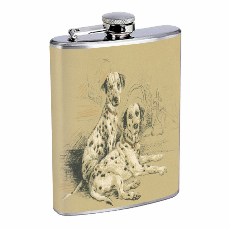 Vintage Dog Hip Flask D15 8oz Stainless Steel Collectible Old Fashioned Image