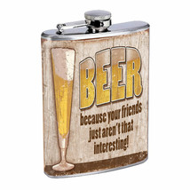 Vintage Drinking Ads Hip Flask D9 8oz Stainless Steel Old Fashioned Retro - $12.82
