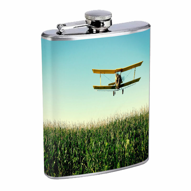 Vintage Farm D10 8oz Hip Flask Stainless Steel Country Farmer Nature Landscape