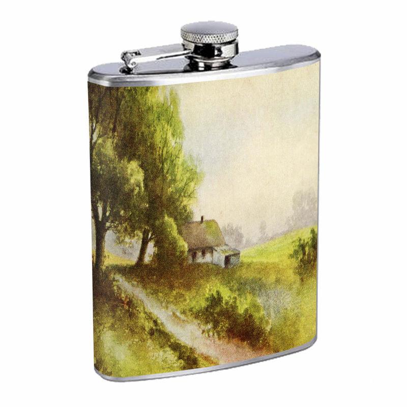 Vintage Farm D15 8oz Hip Flask Stainless Steel Country Farmer Nature Landscape
