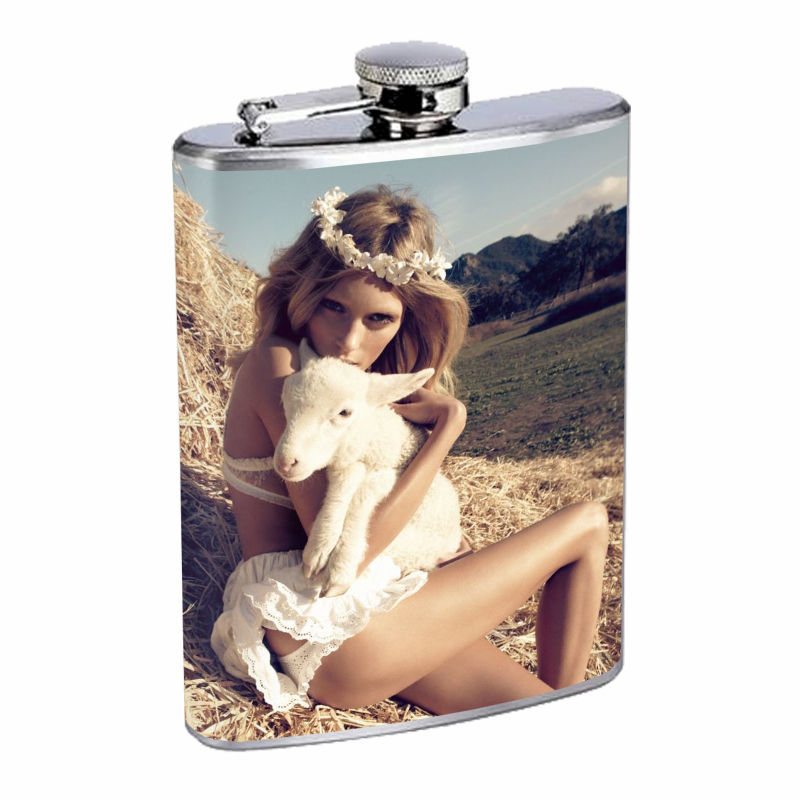 Vintage Farm Girl D17 8oz Hip Flask Stainless Steel Sexy Country Girl Hot Babe