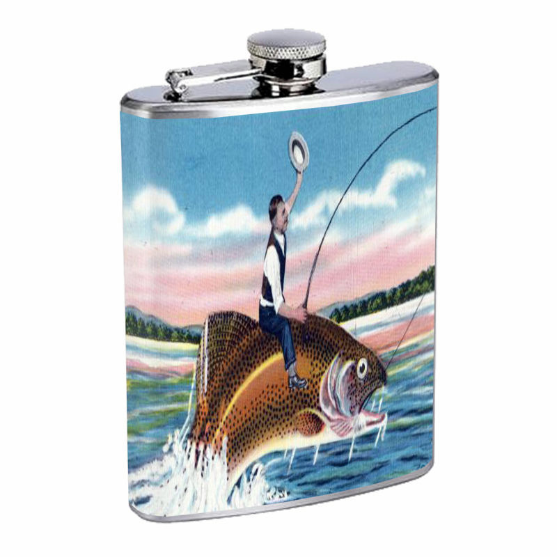 Vintage Fishing D5 8oz Hip Flask Stainless Steel Sports Fisherman Nature Hobby