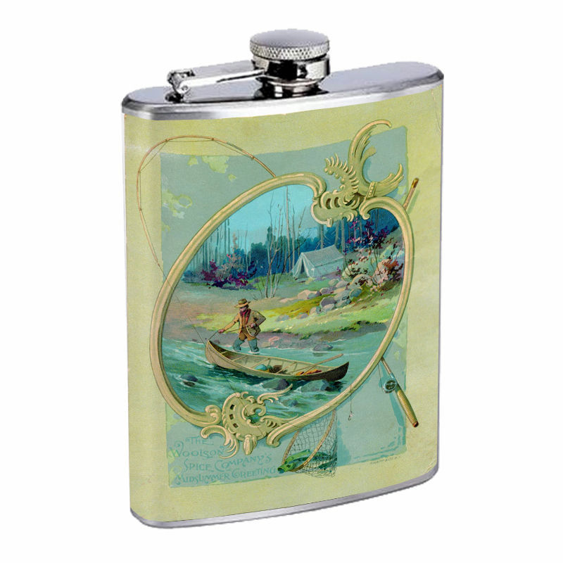 Vintage Fishing D9 8oz Hip Flask Stainless Steel Sports Fisherman Nature Hobby