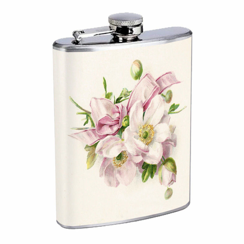 Vintage Flowers Hip Flask D3 8oz Stainless Steel Old Fashioned Retro