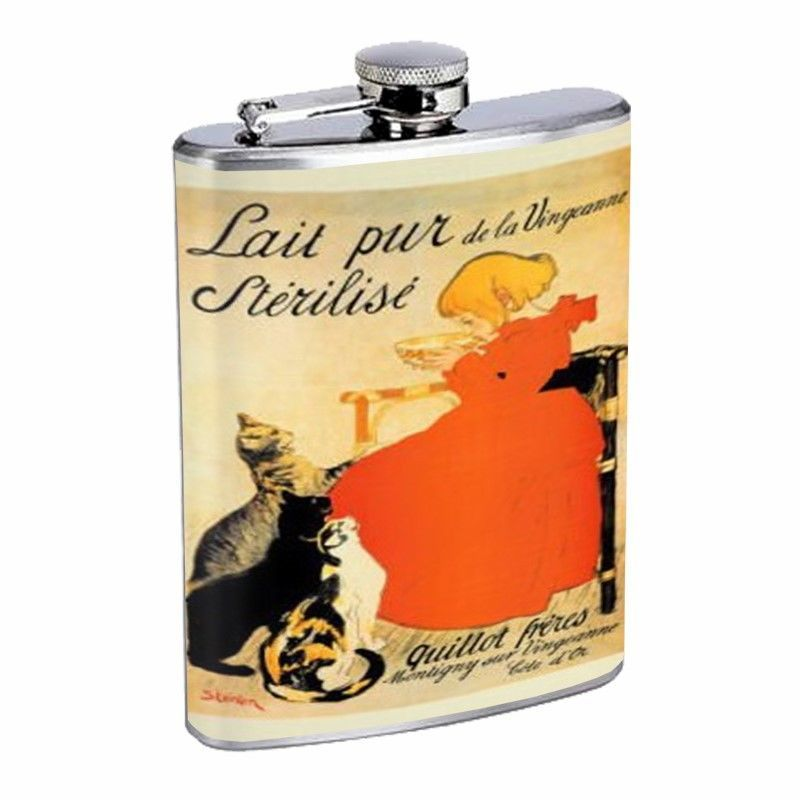 Vintage French Milk Ad Cat D487 Flask 8oz Stainless Steel Little Girl Pets Food