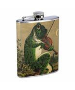 Vintage Frogs Hip Flask D5 8oz Stainless Steel Old Fashioned Retro - $10.26