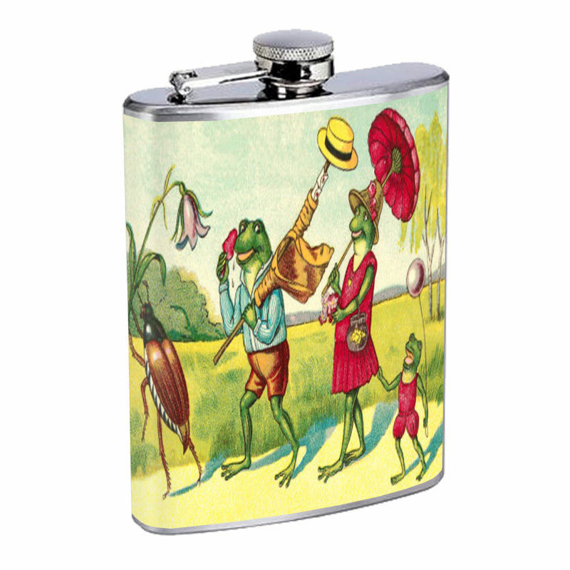 Vintage Frogs Hip Flask D7 8oz Stainless Steel Old Fashioned Retro