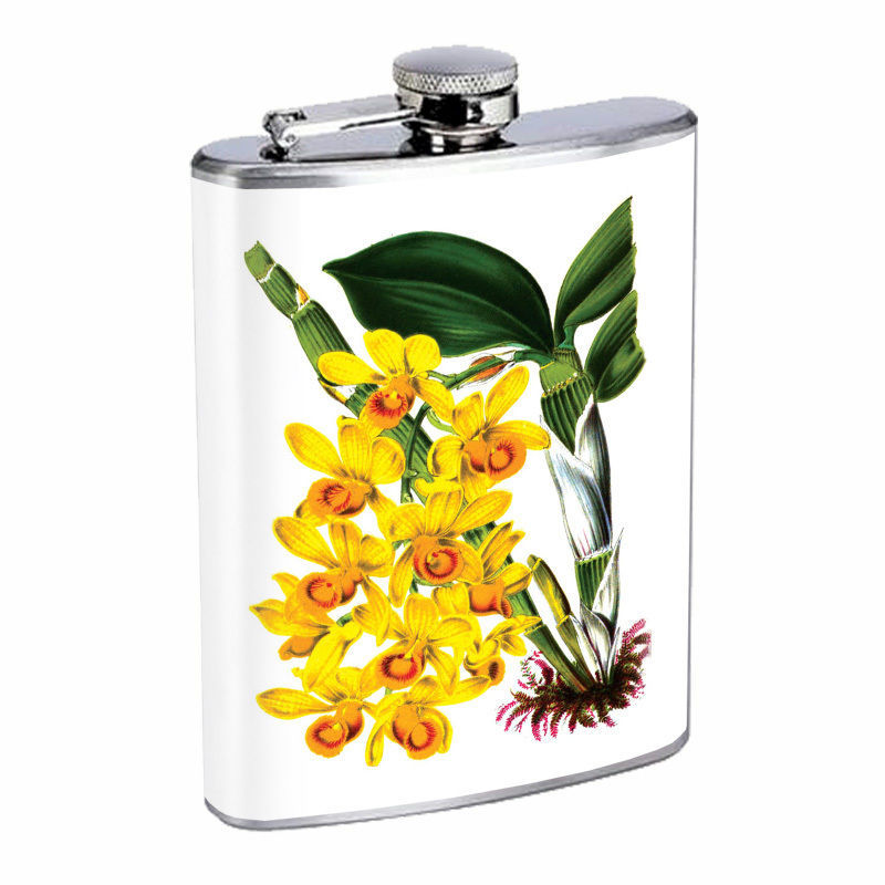 Vintage Flowers Hip Flask D9 8oz Stainless Steel Old Fashioned Retro