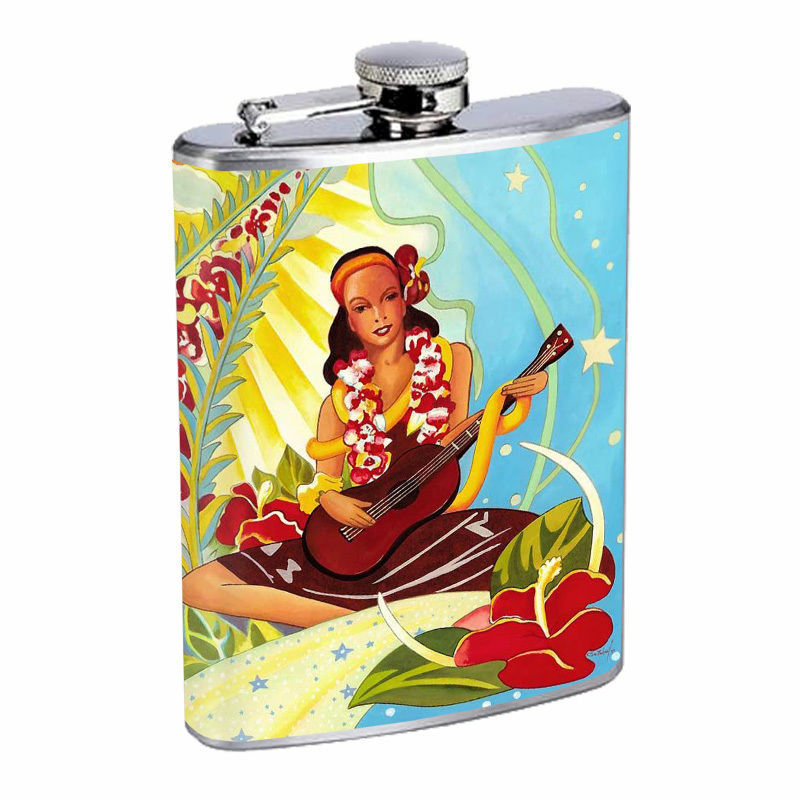 Vintage Hawaiian Art Hip Flask D9 8oz Stainless Steel Old Fashioned Retro
