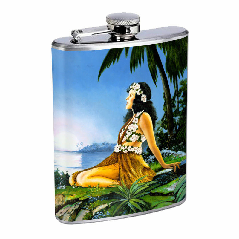 Vintage Hawaiian Art Hip Flask D6 8oz Stainless Steel Old Fashioned Retro