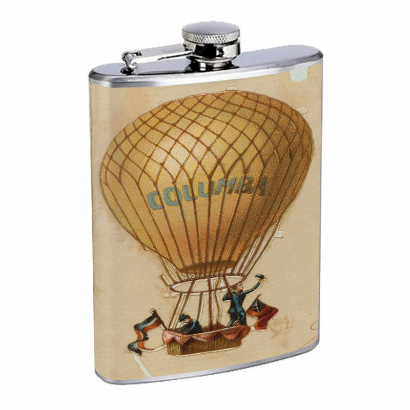 Vintage Hot Air Balloon Hip Flask D1 8oz Stainless Steel Old Fashioned Retro