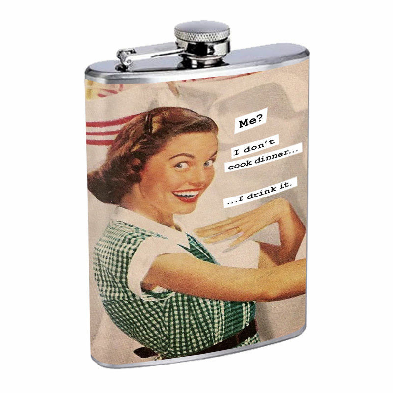 Vintage House Wife Hip Flask D2 8oz Stainless Steel Old Fashioned Retro