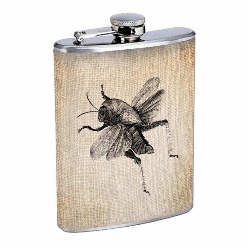 Vintage Insects Hip Flask D2 8oz Stainless Steel Old Fashioned Retro