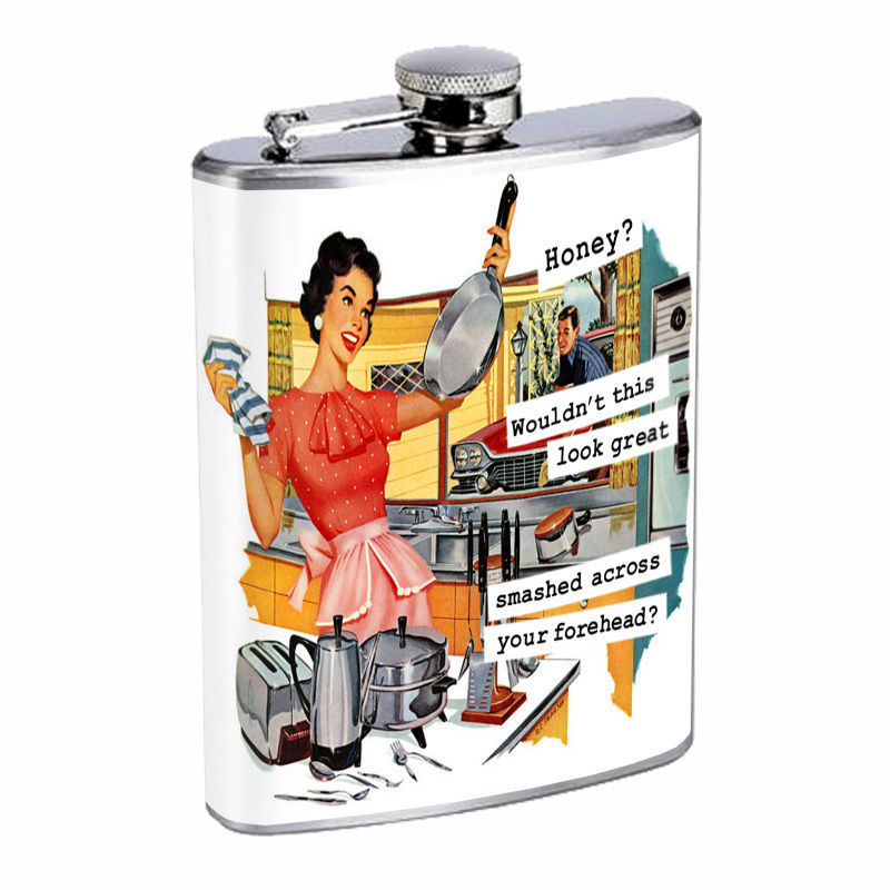 Vintage House Wife Hip Flask D4 8oz Stainless Steel Old Fashioned Retro