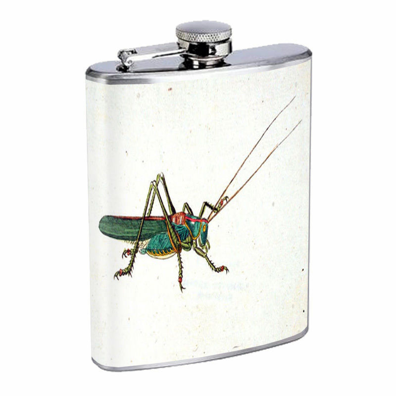 Vintage Insects Hip Flask D3 8oz Stainless Steel Old Fashioned Retro