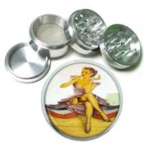 Vintage Lipstick Pin Up Model Metal Silver Aluminum Grinder D85 63mm Herb Spices - $12.82