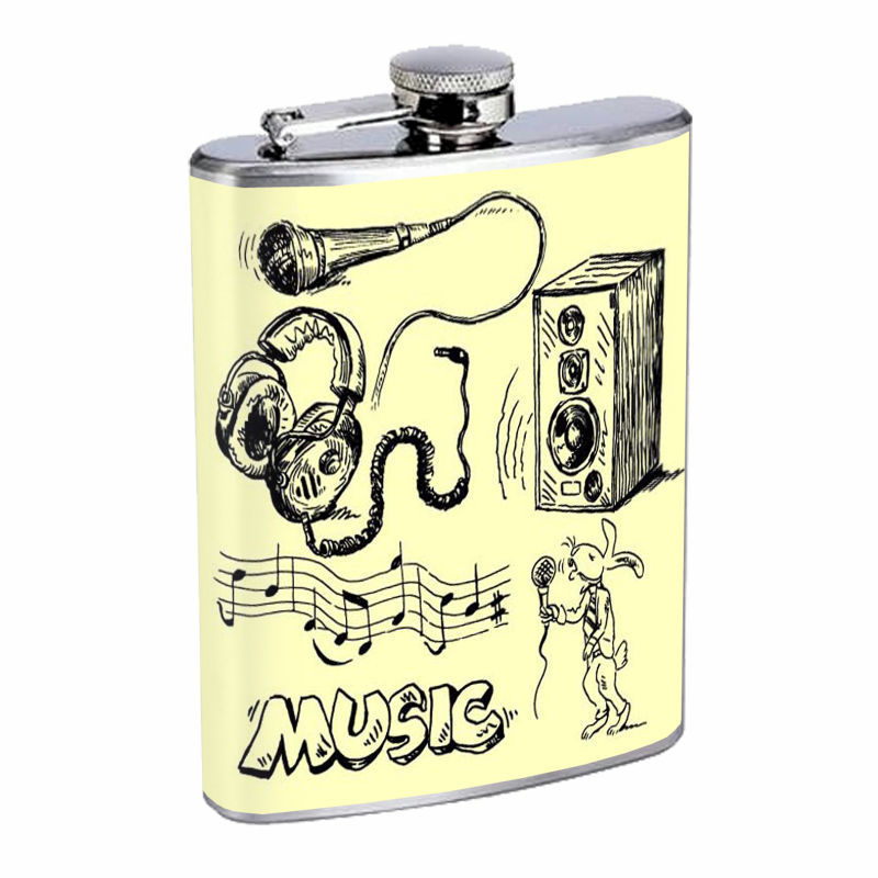 Vintage Musical Instruments D5 8oz Hip Flask Stainless Steel Musician Music