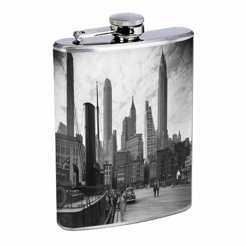 Vintage New York City Silver Hip Flask D4 8oz Stainless Steel Old Fashioned