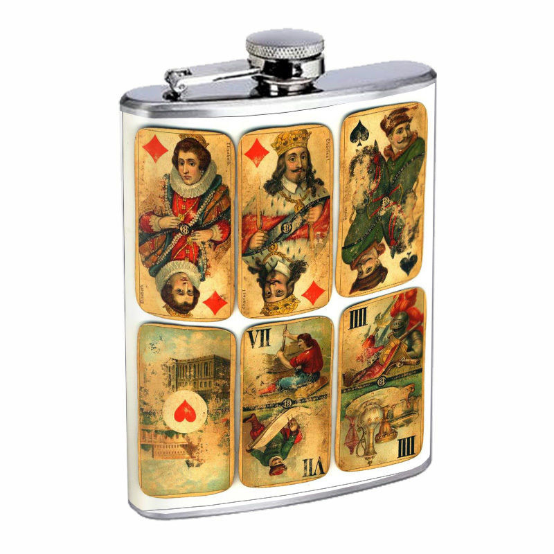 Vintage Playing Cards Hip Flask D1 8oz Stainless Steel Old Fashioned Retro