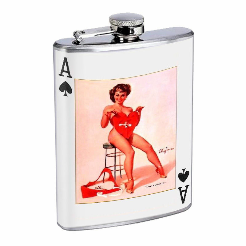 Vintage Playing Cards Hip Flask D2 8oz Stainless Steel Old Fashioned Retro