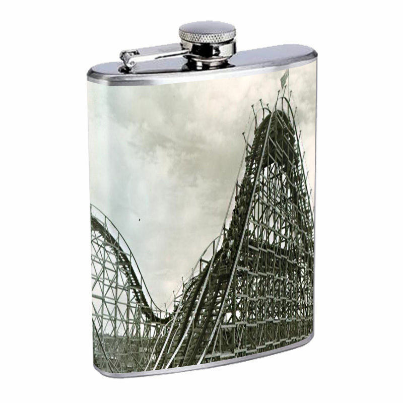 Vintage Roller Coaster Silver Hip Flask D6 8oz Stainless Steel Old Fashioned