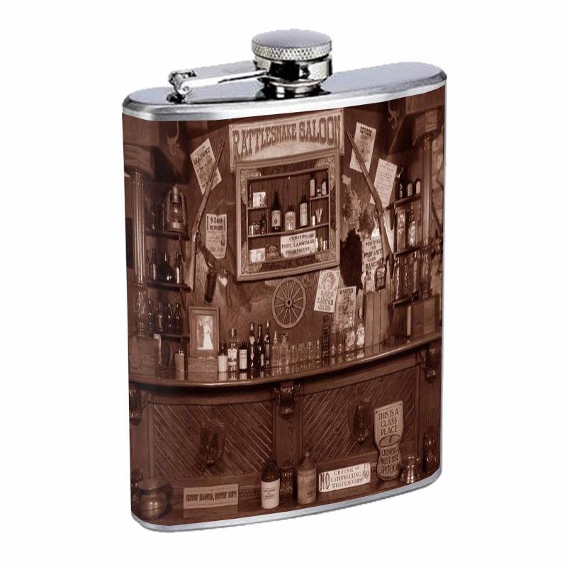 Vintage Saloon D5 8oz Hip Flask Stainless Steel Western Pioneer Cowboy Bar