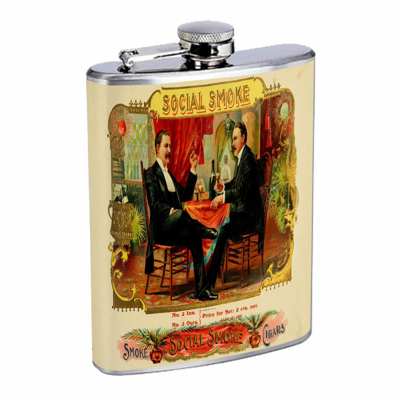 Vintage Tobacco Labels D13 8oz Hip Flask Stainless Steel Cigarette Smokes