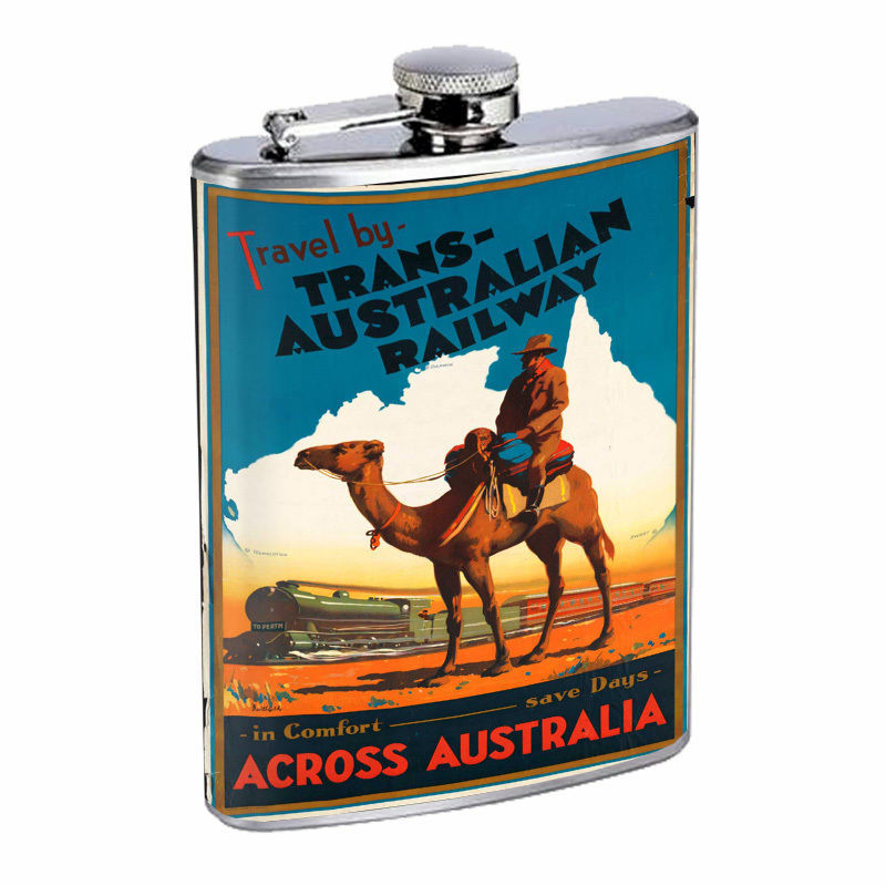 Vintage Travel Poster Hip Flask D1 8oz Stainless Steel Old Fashioned Retro