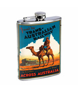 Vintage Travel Poster Hip Flask D1 8oz Stainless Steel Old Fashioned Retro - $10.26
