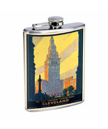 Vintage Travel Poster Hip Flask D10 8oz Stainless Steel Old Fashioned Retro - $10.26