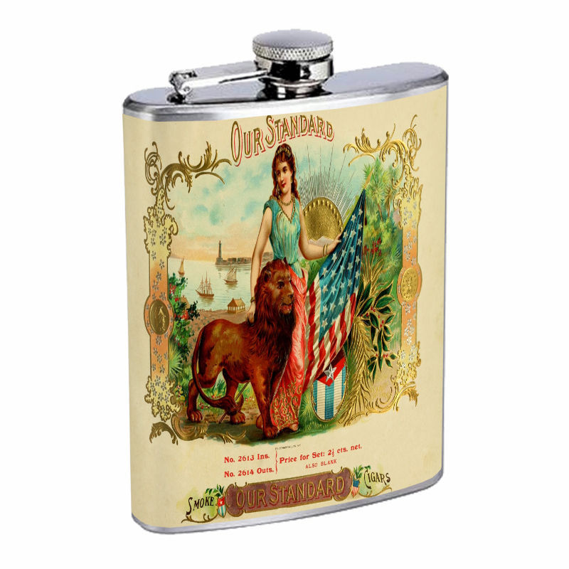 Vintage Tobacco Labels D6 8oz Hip Flask Stainless Steel Cigarette Smokes