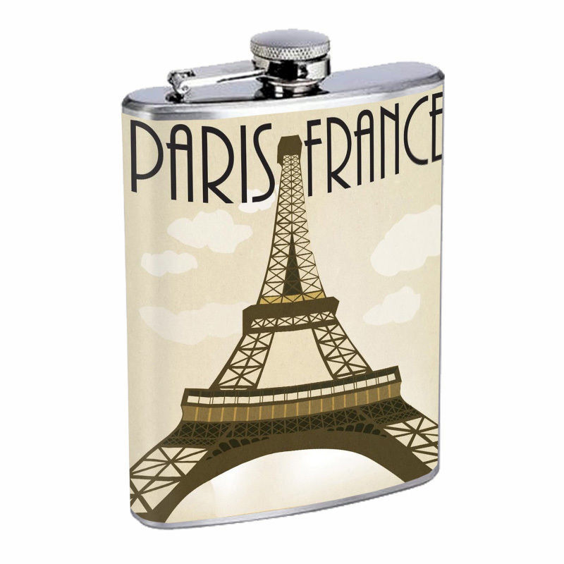 Vintage Travel Poster Hip Flask D3 8oz Stainless Steel Old Fashioned Retro