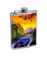 Vintage Travel Poster Hip Flask D18 8oz Stainless Steel Old Fashioned Retro - $10.26
