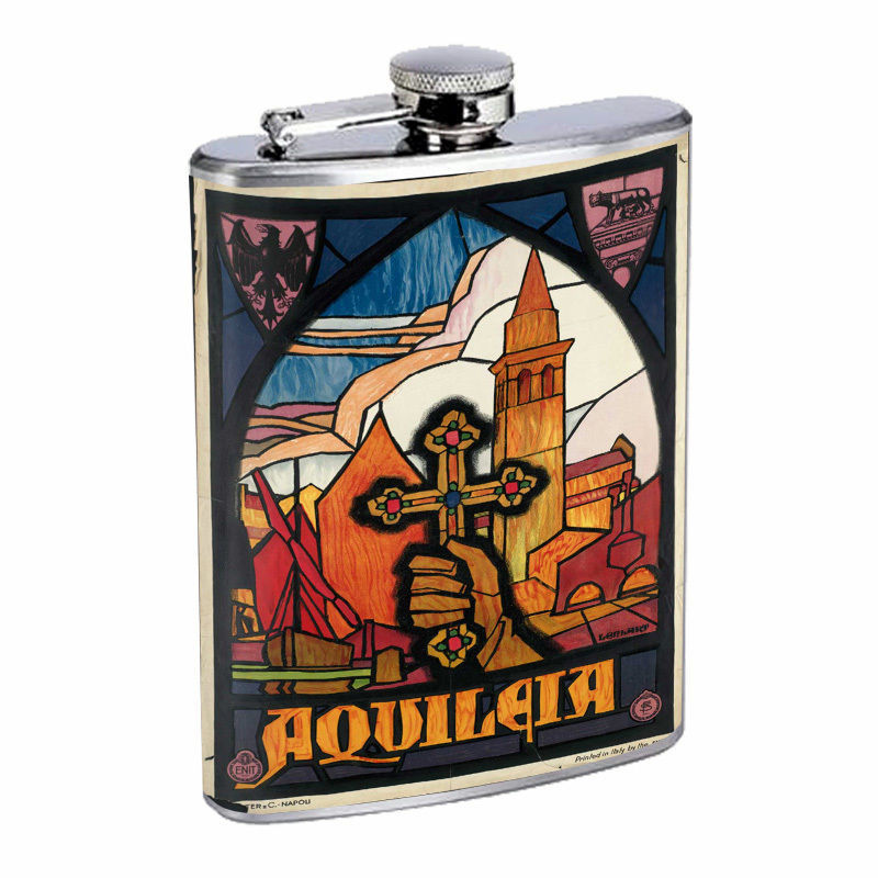 Vintage Travel Poster Hip Flask D8 8oz Stainless Steel Old Fashioned Retro