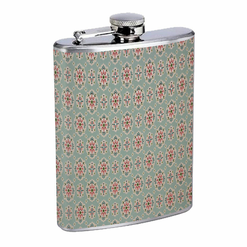 Vintage Wall Paper Hip Flask D7 8oz Stainless Steel Old Fashioned Retro