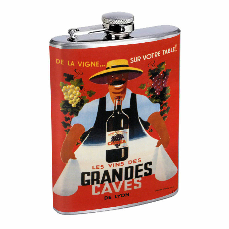 Vintage Wine Ads Hip Flask D18 8oz Stainless Steel Old Fashioned Retro