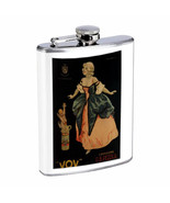 Vintage Wine Ads Hip Flask D22 8oz Stainless Steel Old Fashioned Retro - $10.26