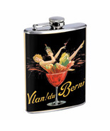 Vintage Wine Ads Hip Flask D7 8oz Stainless Steel Old Fashioned Retro - $10.26