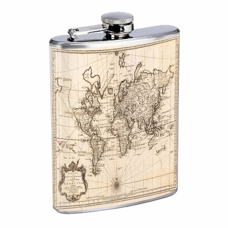 Vintage World Maps D11 8oz Hip Flask Stainless Steel Travel Countries