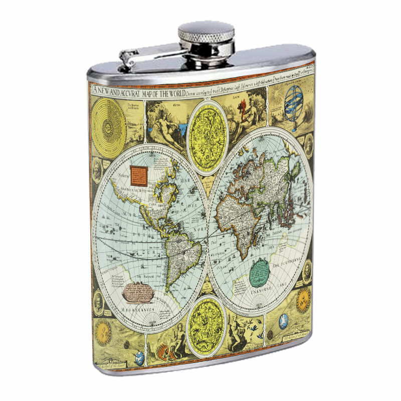 Vintage World Maps D16 8oz Hip Flask Stainless Steel Travel Countries