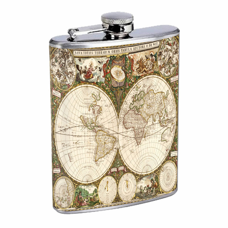 Vintage World Maps D17 8oz Hip Flask Stainless Steel Travel Countries