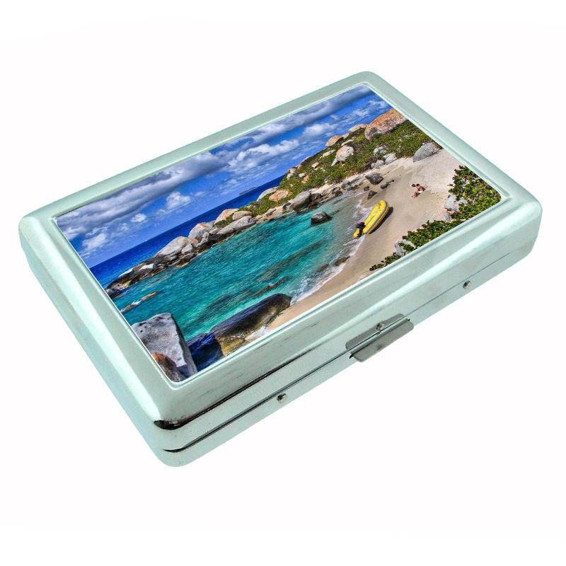 Virgin Islands Metal Silver Cigarette Case D1 Ocean Sandy Beaches Vacation
