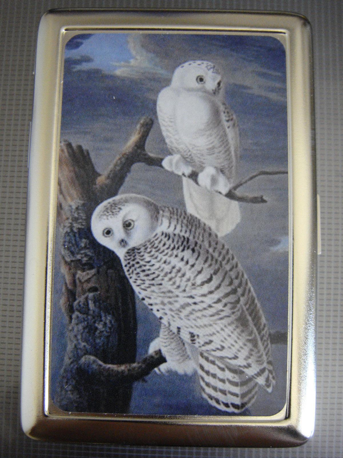 White Owl D 01 Metal Silver Cigarette Case Nature Zoo Wildlife Animal
