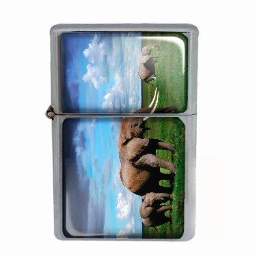 Windproof Dual Flame Torch Lighter Elephant Design 02 Animal Nature Wildlife